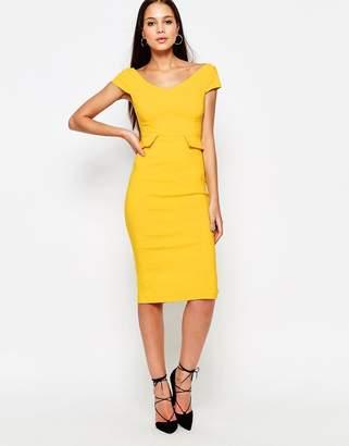 Vesper Phoebe Midi Dress with Peplum $58 thestylecure.com