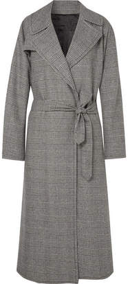 Nili Lotan Topher Distressed Prince Of Wales Checked Wool-blend Tweed Coat - Gray