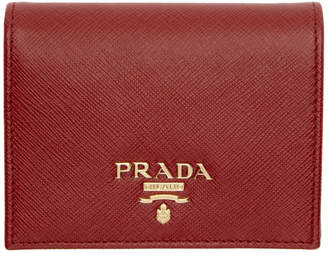 Prada Red Saffiano French Wallet