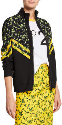 No.21 No. 21 Floral Pattern Chevron Stand Collar Sports Jacket