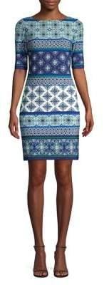 Eliza J Tile Printed Sheath Dress