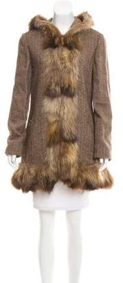 Marni Wool Fox-Trimmed Coat