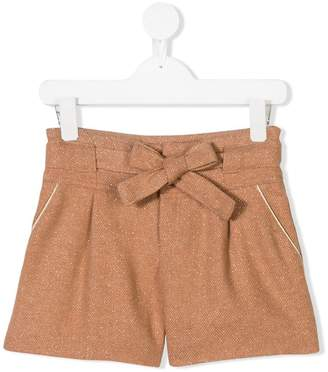 Chloé Kids glitter belted bow shorts