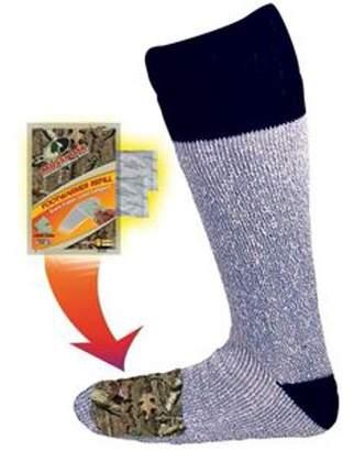 Factory Heat Acrylic Blend Socks with Foot Heat Warmer Pockets, 2 Pairs, Mossy Oak/Grey, Large/X-Large