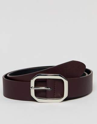 Asos Design DESIGN faux leather wide belt in burgundy with silver buckle