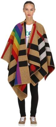 Burberry Rainbow Check Wool & Cashmere Cape