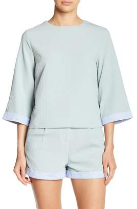 ENGLISH FACTORY Textured Bell Sleeve Top