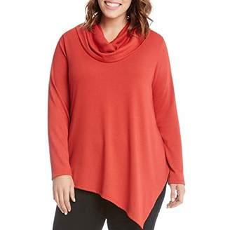 Karen Kane Women's Plus Size Cowl Neck Angled Hem Sweater
