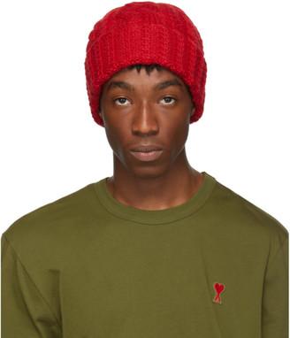 Ami Alexandre Mattiussi Red Wool Knit Beanie