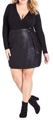 City Chic Plus Wrap Bodice Dress