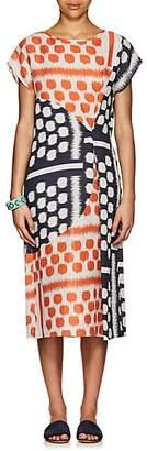 Zero Maria Cornejo Women's Geometric Linen Midi-Dress - Navy