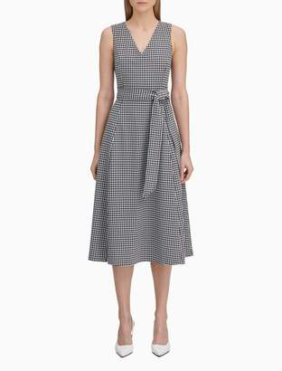 Calvin Klein gingham belted a-line dress