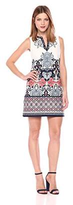 Laundry by Shelli Segal Women's Printed Emb Sleeveless Shift Dress with Beading at Neckline, 8