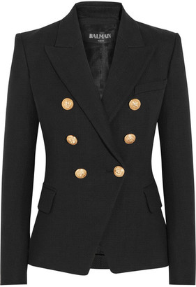 Balmain - Double-breasted Basketweave Cotton Blazer - Black $1,790 thestylecure.com