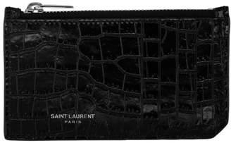 Saint Laurent Black Croc Zipped Fragments Card Holder
