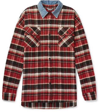 Fear Of God Oversized Denim-Trimmed Checked Cotton-Flannel Overshirt