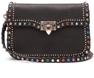 Valentino - Guitar Rockstud Rolling Leather Bag - Womens - Black Multi