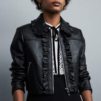 Maje Cropped leather jacket with ruffles