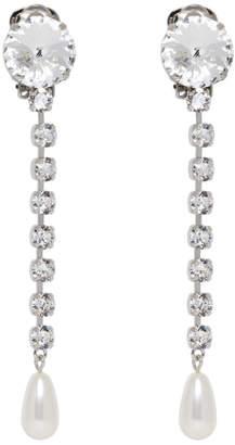 Miu Miu Silver Long Crystal Earrings