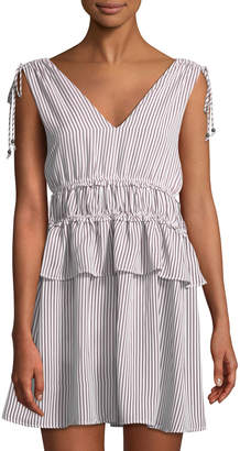 Line And Dot Ilayda Striped Tie-Shoulder Mini Dress