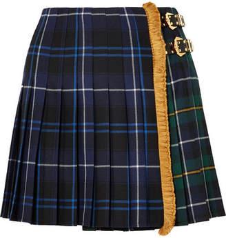 Versace Fringed Pleated Tartan Wool Mini Skirt - Blue