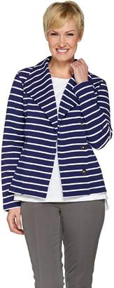 Isaac Mizrahi Live! Striped French Terry Knit Motorcycle Jacket