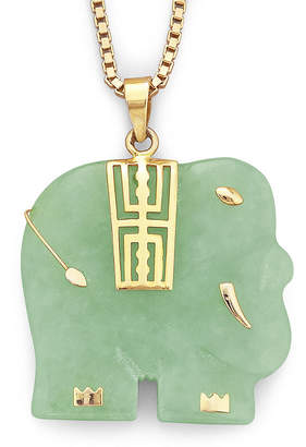 JCPenney FINE JEWELRY Genuine Jade Elephant Pendant Necklace 14K/Sterling Silver