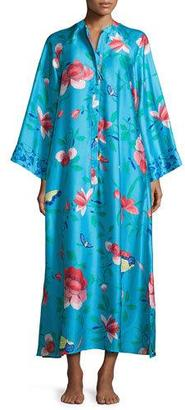 Natori Manila Floral-Print Zip Caftan, Blue $180 thestylecure.com