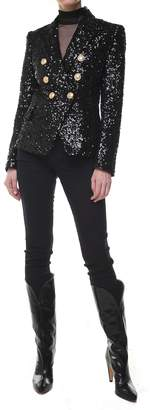 Balmain Double-breasted Sequinned Chiffon Blazer