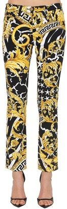 Versace Printed Skinny Cotton Denim Jeans