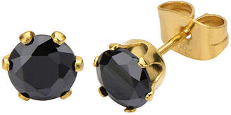 JCPenney FINE JEWELRY Black Cubic Zirconia 8mm Stainless Steel and Yellow IP Stud Earrings