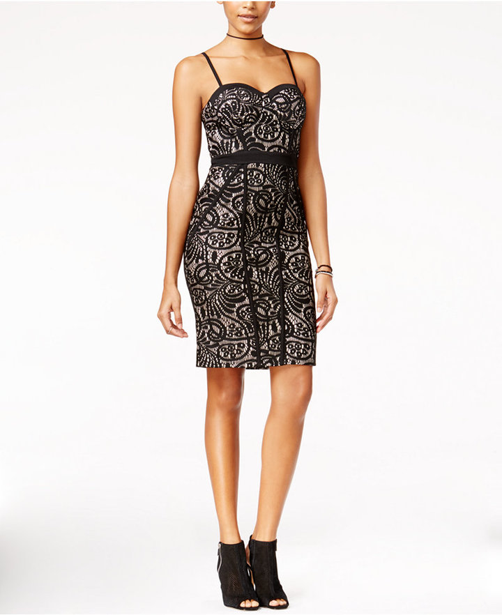 Material Girl Juniors' Lace Metallic Bodycon Dress, Only at Macy's