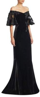 Velvet Off-The-Shoulder Lace Sleeve Gown