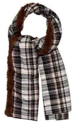 0f5603f6a2d8e Donni Charm Fur-Trimmed Plaid Scarf w/ Tags