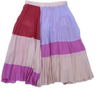 Marni Color Block Silk & Viscose Crepe Plisse Skirt