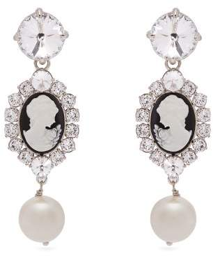 Miu Miu Cameo, Faux Pearl And Crystal Clip On Earrings - Womens - Black