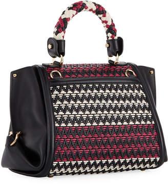 84e83c92d6 Salvatore Ferragamo Sofia Small Woven Leather Satchel Bag