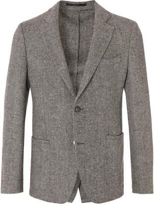 Officine Generale Grey Slim-Fit Herringbone Wool Blazer