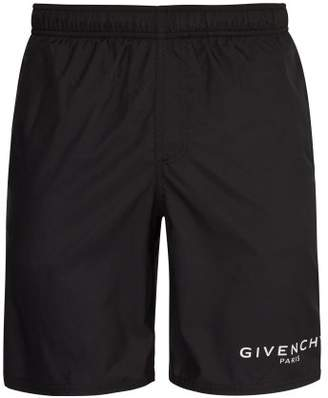 Givenchy Logo Print Swim Shorts - Mens - Black