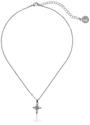 LIBRARY The Vatican Collection Silver-Tone Light Blue Crystal Cross Pendant Necklace