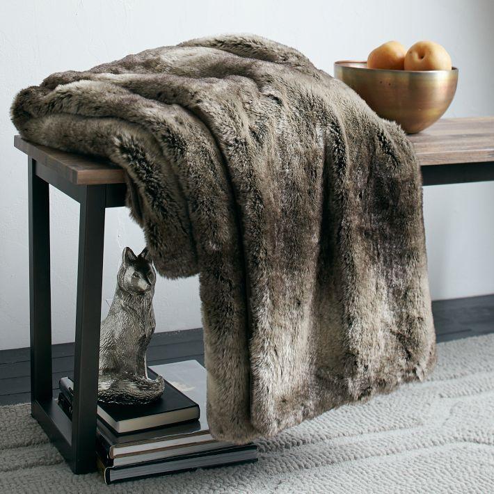 west elm Ombre Faux Fur Throw - Mocha