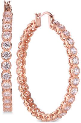 Tiara Cubic Zirconia Bezel Hoop Earrings in 14k Rose Gold-Plated Sterling Silver