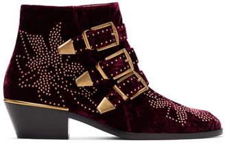 Chloé Red Velvet Susanna Boots