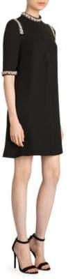 Prada Embellished Mockneck Shift Dress