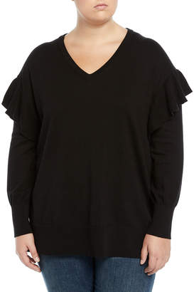 Vince Camuto Plus V-Neck Ruffle-Shoulder Sweater, Plus Size