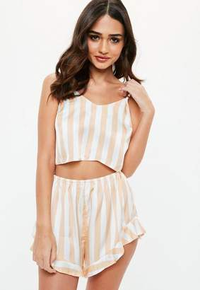 Missguided Nude Stripe Satin Piped Cami Shorts Pajama Set