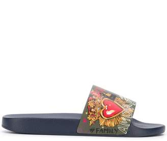 Dolce & Gabbana leather graphic slides