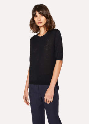 Paul Smith Women's Black Merino Wool And Silk-Blend Knitted T-Shirt