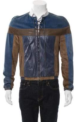 Gucci Colorblock Leather & Suede Jacket