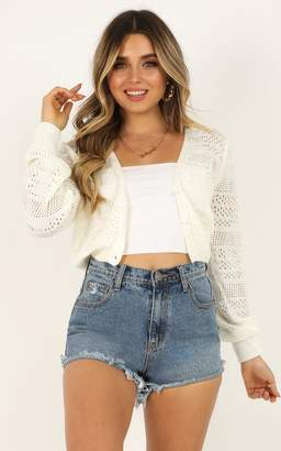 Showpo A Few Too Late Cardigan in white - 4 (XXS) Long Sleeve Tops